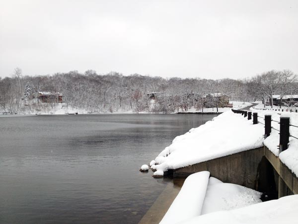 snow by lake 3