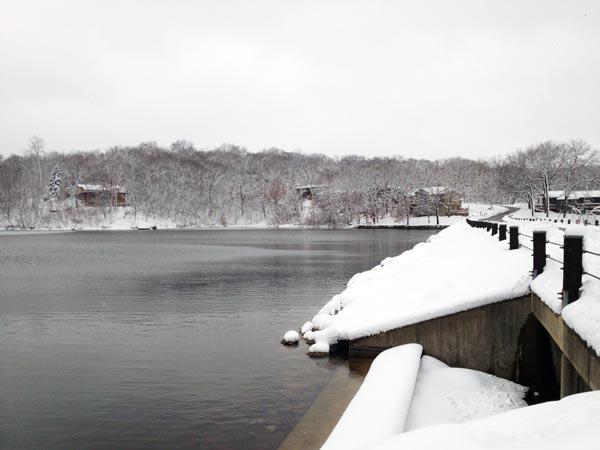 snow by lake 3